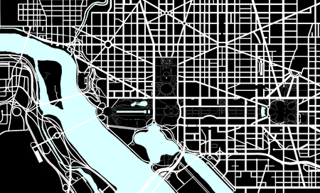 district of columbia: Washington DC black and white map