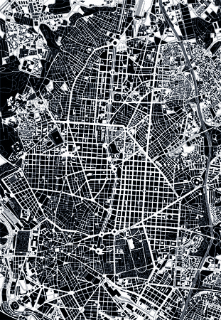 madrid spain: Madrid black and white map
