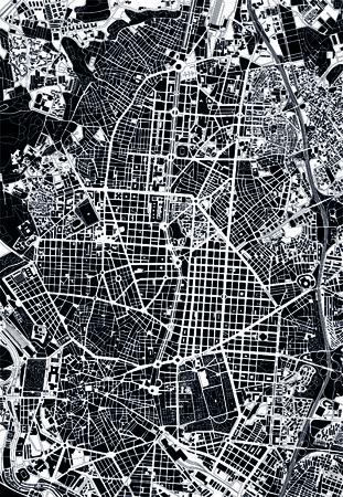 Madrid mappa in bianco e nero Archivio Fotografico - 36361206