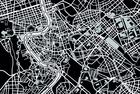 rome italy: Rome black and white map