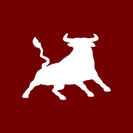 bullock animal: Charging bull on red background Illustration