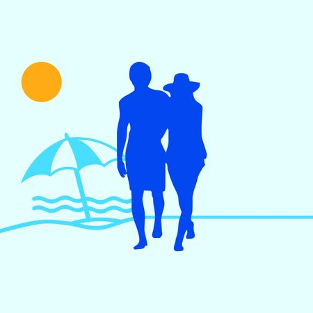 guadeloupe: Couple on a sandy beach Illustration