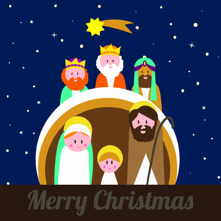 christmas crib - holy family - vector illustration Illustration