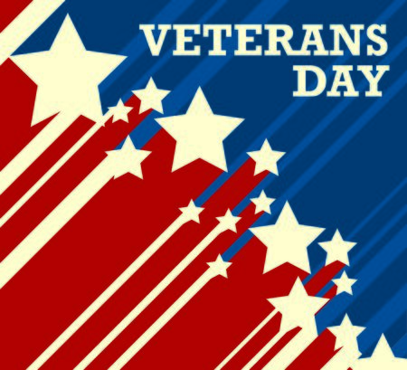 red star: Veterans Day. US flag on the background Illustration