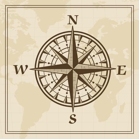 rosa vientos: Rosa de los vientos en un mapa del mundo de fondo Vectores