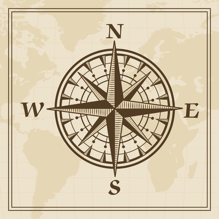 meridian: Wind rose on a world map background