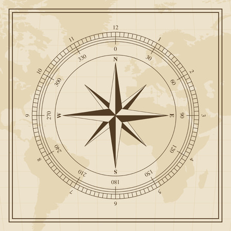 wind rose: Wind rose on a world map background