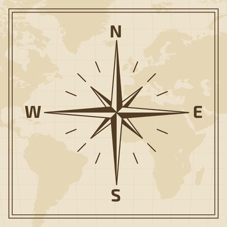 rosa de los vientos: Rosa de los vientos en un mapa del mundo de fondo Vectores