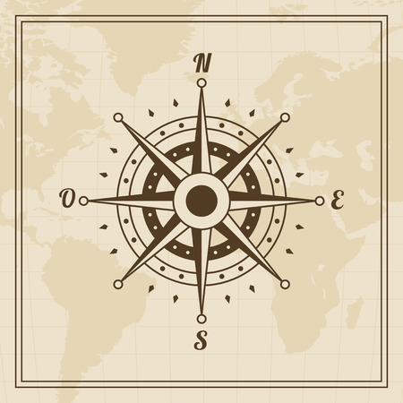 meridiano: Rosa de los vientos en un mapa del mundo de fondo Vectores