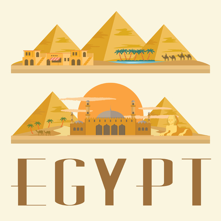 iconic architecture: Egypt travel and landmark. Concept Illustration