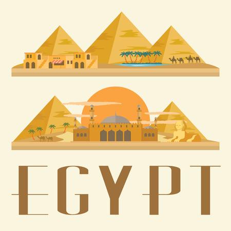 Egypt travel and landmark. Concept Illustration