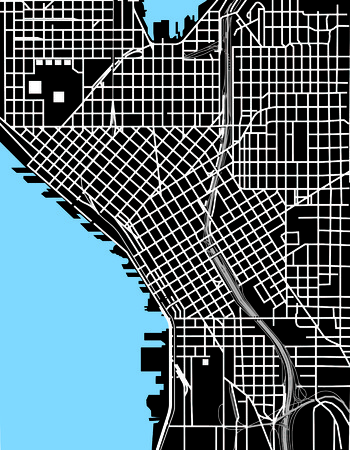Seattle black and white vector map on a plain background. Illustration