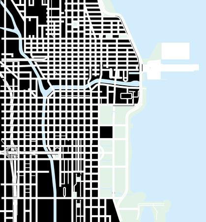 Urban vector city map of Chicago, USA illustration.