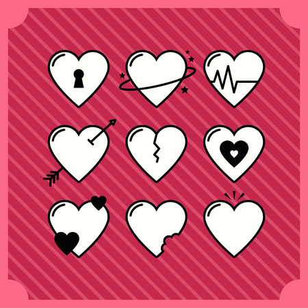 Hearts icon set vector illustration Stock Illustratie