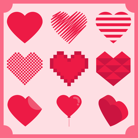 Heart icons set vector illustration