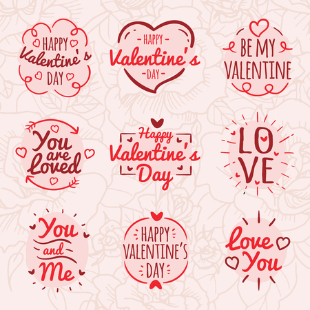 Valentines Day quote designs vector illustration set Stock Illustratie