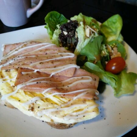 lunchtime: Meal set with omelet egg, ham and vegetables salad
