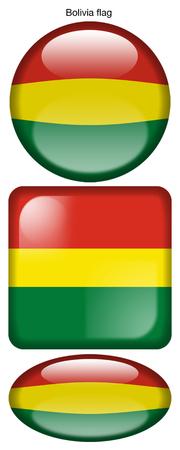 Bolivia flag, button; square; round; oval