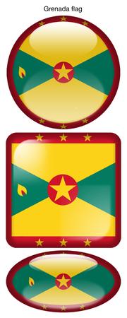 Granada flag, button; square; round; oval
