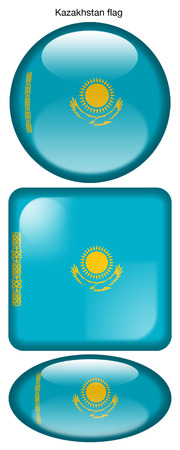 Kazakhstan flag, button; square; round; oval