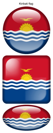 Kiribati flag, button; square; round; oval