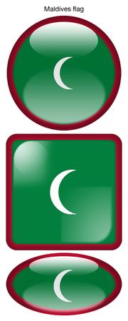 Maldives flag, button; square; round; oval