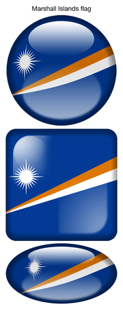 Marshall Islands flag, button; square; round; oval