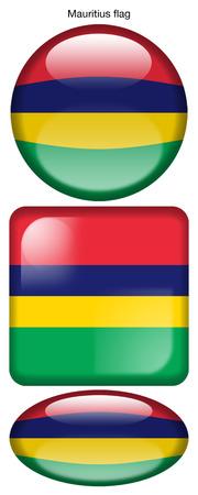 Mauritius flag, button; square; round; oval
