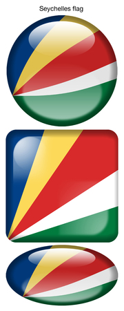 Seychelles flag, button; square; round; oval