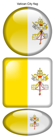 Vatican City flag, button; square; round; oval