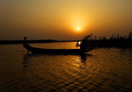 Sunrise on an African lake, Benin Stock Photo - 118450190