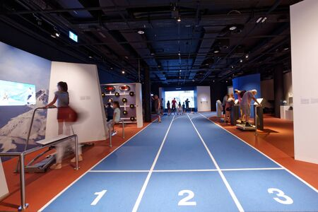 Lausanne, Switzerland, 08.16.2019, Olympic Museum of Lausanne, indoor rooms, test your skills