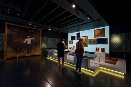 Lausanne, Switzerland, 08.16.2019, Olympic Museum of Lausanne, indoor rooms, life of Pierre de Coubertin