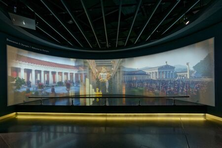 Lausanne, Switzerland, 08.16.2019, Olympic Museum of Lausanne, indoor rooms, welcome to Olympia