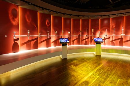 Lausanne, Switzerland, 08.16.2019, Olympic Museum of Lausanne, indoor rooms, torches for the Olympic Torch Relays