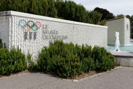 Lausanne, Switzerland, 08.16.2019, Olympic Museum of Lausanne, park and garden, fountain at the entrance to the park Sajtókép