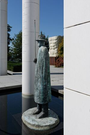 Lausanne, Switzerland, 08.16.2019, Olympic Museum of Lausanne, park and garden, general entrance and these columns, Sajtókép