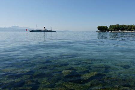 Lausanne, Vaud, Swizerland; 03.09.2019, Steam boat ride on Lake Geneva Sajtókép