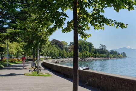 Lausanne, Vaud, Swizerland; 03.09.2019, Walking tour on the shores of Lake Geneva