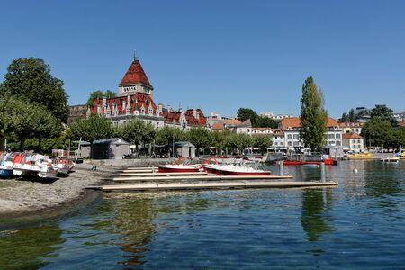 Lausanne, Vaud, Swizerland; 03.09.2019, Castle dOuchy on the promenade on Lake Geneva