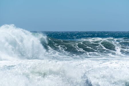 Waves of the Pacific Ocean in Arcos de Calan in Chile