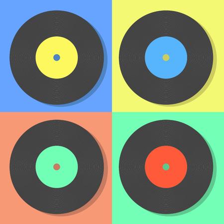 Illustration of vector multi colored vinyl disks on a multi color background Illustration