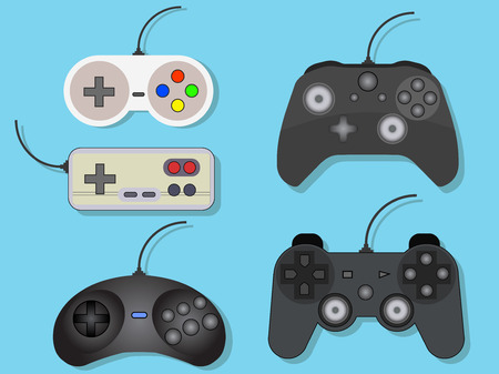 Set of vector illustration of gamepads for video games on a blue background Ilustração