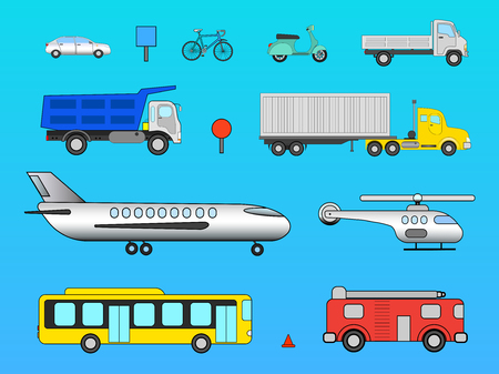 Vector set transport and avia of means on a blue background