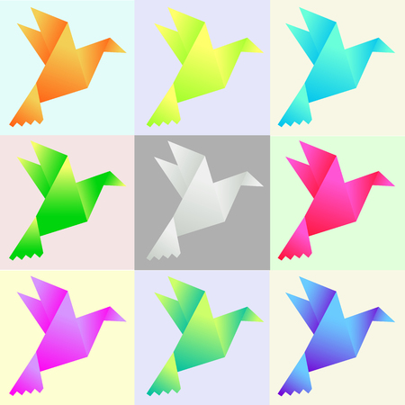 Vector illustration of set of multi-colored pigeons on a color background