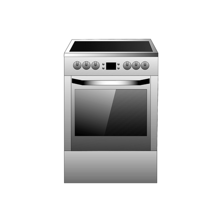 Vector grey color kitchen range illustration on a white background