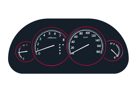 Vector illustration of meter panel of the car with speedometer
