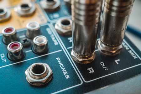Photo of the analog mixer of the sound producer close up