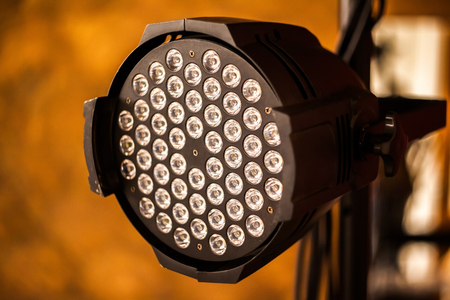 The photo of a big light searchlight for scenic lighting