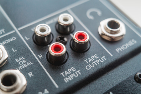 Photo of the analog audio mixer of the sound producer close up Stock Photo